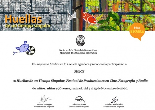 """""""Media at School"""" Program thanks SIGNIS Argentina"""